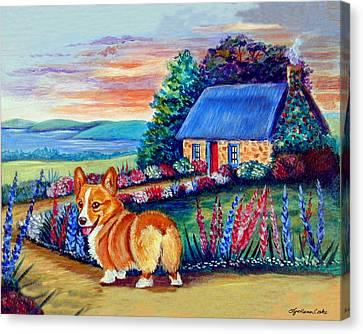 Corgi Cottage Sunrise Canvas Print by Lyn Cook