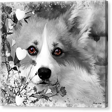 Corgi In The Flowers With A Splash Of Color Canvas Print by Kathy Kelly