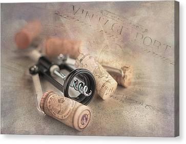 Corkscrew And Wine Corks Canvas Print by Tom Mc Nemar