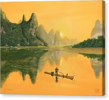 Cormorant Fisherman, River Li, Guilin, Canvas Print by Richard Harpum