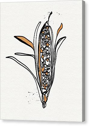 corn- contemporary art by Linda Woods Canvas Print by Linda Woods