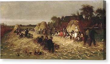 Corn Husking At Nantucket Canvas Print by Eastman Johnson