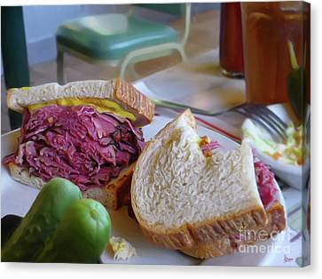 Corned Beef On Rye Canvas Print by Jeff Breiman
