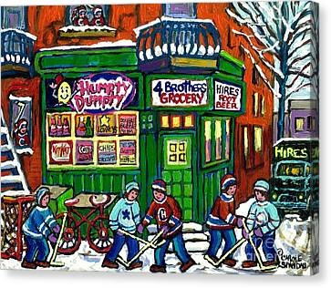 Corner Store Paintings Vintage Grocery Humpty Dumpty 4 Brothers Hires Root Beer Truck Canadian Art Canvas Print by Carole Spandau