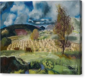 Cornfield And Harvest Canvas Print by George Wesley Bellows