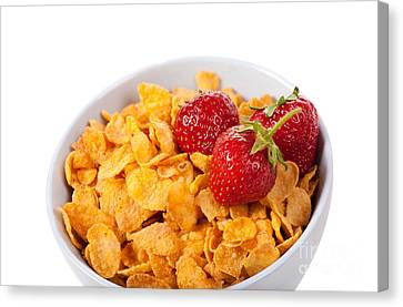 Cornflakes And Three Fresh Strawberries In Bowl  Canvas Print by Arletta Cwalina