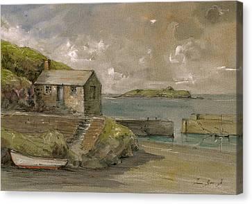 Cornwall Mullion Cove Harbour Lizard -english Channel - Canvas Print by Juan  Bosco