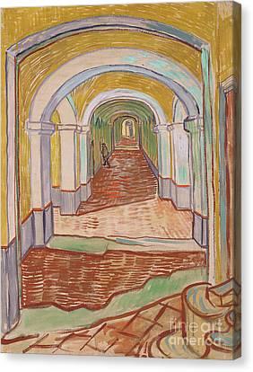 Corridor In The Asylum, September 1889 Canvas Print by Vincent van Gogh