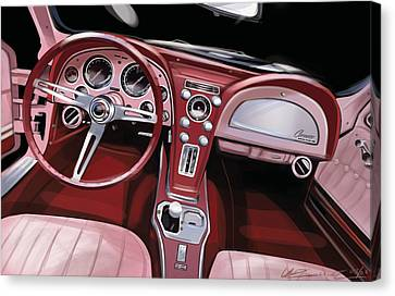 Corvette Sting Ray Interior Canvas Print by Uli Gonzalez