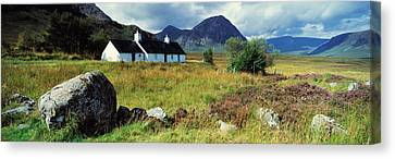 Cottage On A Landscape, Black Rock Canvas Print by Panoramic Images