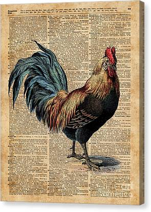 Cottage Rooster Illustration Vintage Dictionary Book Page Canvas Print by Jacob Kuch