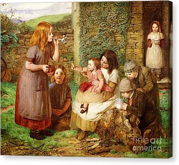Cottage Scene With Children At Play  Canvas Print by John Dawson