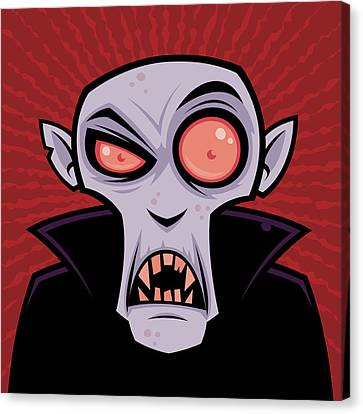 Cartoon Canvas Print featuring the drawing Count Dracula by John Schwegel