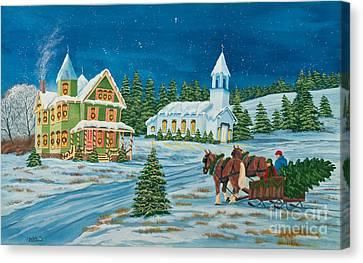 Country Christmas Canvas Print by Charlotte Blanchard