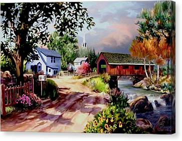 Country Covered Bridge Canvas Print by Ron Chambers