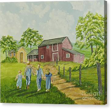 Country Kids Canvas Print by Charlotte Blanchard