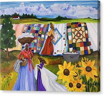 Country Quilts Canvas Print by Diane Britton Dunham