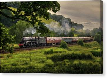 Country Train Ride Canvas Print by David Dehner