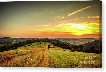 Countryside Aerial Landscape With Meadow And Mountains  Canvas Print by Jerzy Lekki