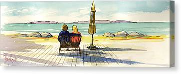 Couple At The Beach Canvas Print by Ray Cole
