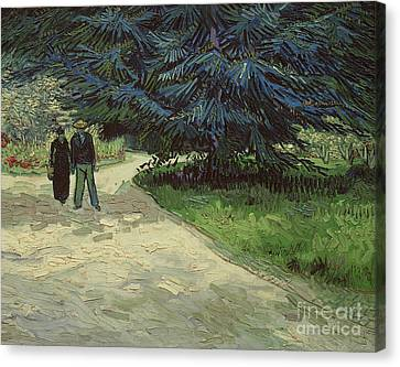 Couple In The Park Canvas Print by Vincent Van Gogh
