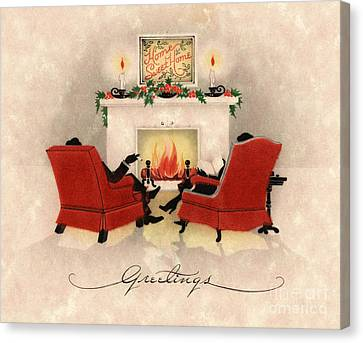 Couple Sitting Before Roaring Fireplace On Christmas Eve Canvas Print by American School