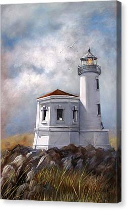 Couquille River Lighthouse  Bandon Ore. Canvas Print by Lynne Parker
