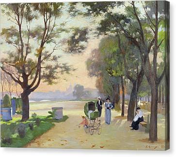 Cours La Reine Paris Canvas Print by Jules Ernest Renoux