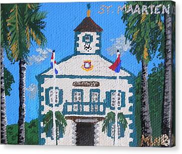 Courthouse In Philipsburg Canvas Print by Margaret Brooks