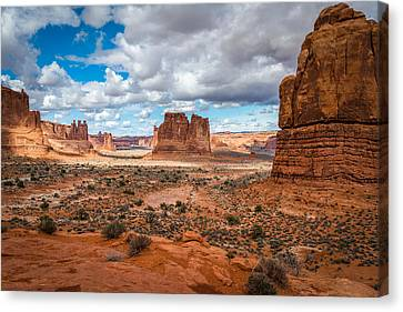 Courthouse Towers At Arches National Park Canvas Print by James Udall