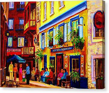Courtyard Cafes Canvas Print by Carole Spandau