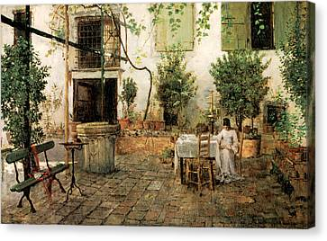 Courtyard In Venice Canvas Print by William Merrit Chase