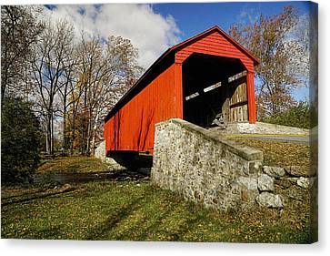Covered Bridge At Poole Forge Canvas Print by William Jobes