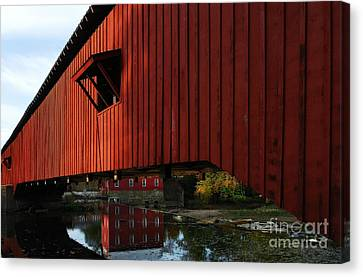 Covered Bridge Reflections Canvas Print by Mel Steinhauer