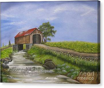 Covered Bridge Canvas Print by RJ McNall