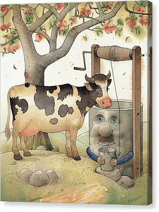 Cow And Well Canvas Print by Kestutis Kasparavicius