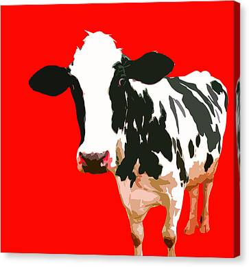 Cow In Red World Canvas Print by Peter Oconor