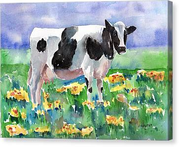 Cow In The Meadow Canvas Print by Arline Wagner