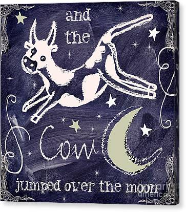 Cow Jumped Over The Moon Chalkboard Art Canvas Print by Mindy Sommers