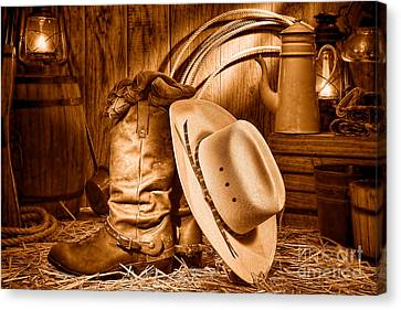 Cowboy Gear In Barn - Sepia  Canvas Print by Olivier Le Queinec