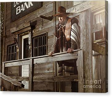 Cowboy Waiting Outside Of A Bank Building Canvas Print by Oleksiy Maksymenko