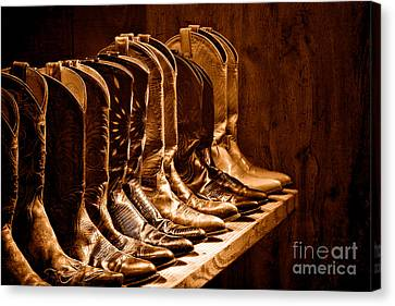 Cowgirl Boots Collection -sepia Canvas Print by Olivier Le Queinec