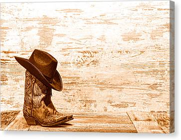 Cowgirl Boots - Sepia Canvas Print by Olivier Le Queinec