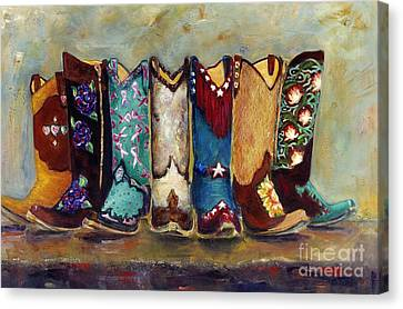 Cowgirls Kickin The Blues Canvas Print by Frances Marino
