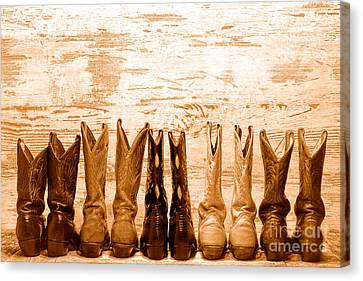 Cowgirls Night Out - Sepia Canvas Print by Olivier Le Queinec
