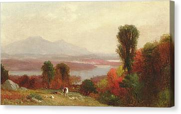 Cows And Sheep Grazing In An Autumn River Landscape Canvas Print by Homer Dodge Martin