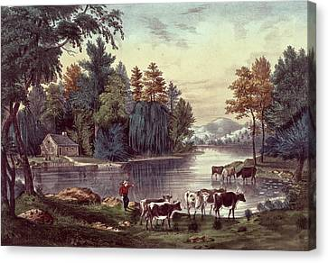 Cows On The Shore Of A Lake Canvas Print by Currier and Ives
