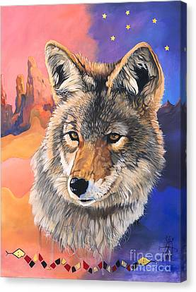 Coyote The Trickster Canvas Print by J W Baker