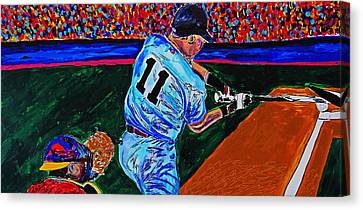 Crack Of The Bat - Abstract Baseball Series Canvas Print by Nicholas Vitale