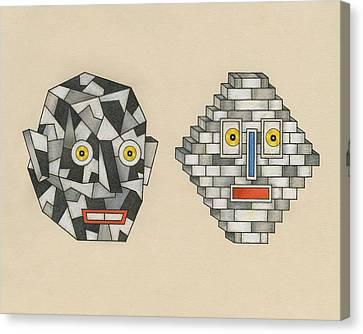 Crag Man And Brick Head Canvas Print by Matt Leines